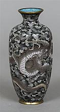 A Chinese cloisonne vase  Of ribbed baluster form,