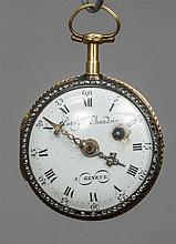 A enamel decorated gold verge pocket watch The rev