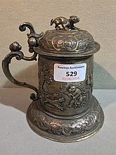 A 19th century Continental silver stein, probably