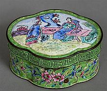 A 19th century Cantonese enamel box and cover Of l