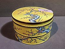 A 19th century Chinese Canton enamel two tier box