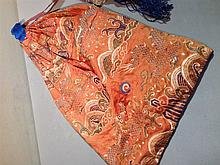 A 19th/20th century Chinese embroidered silk papoo