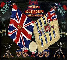 A Suffolk Regiment Memorial woolwork picture Worke