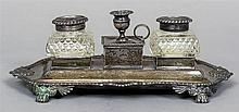 A George III silver desk stand Fitted with two cut