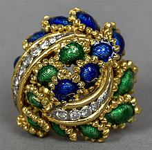 An 18 ct gold, diamond and enamel set ring Of dome