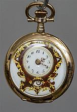 A small gold pocket watch  With enamel dial and vi