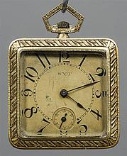 An 18 ct gold Art Deco pocket watch Of square form