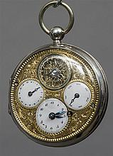 A silver cased multi-dial silver verge pocket watc