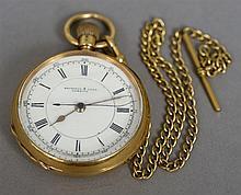 An 18 ct gold gentleman's pocket watch The white e