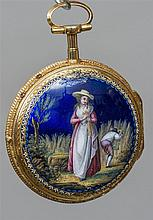 An 18 ct gold enamel decorated pair cased pocket w