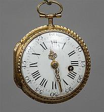 A 19th century gold pair cased verge pocket watch