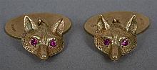 A pair of 9 ct gold cufflinks Each formed as a fox