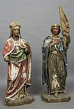 A pair of large 19th century polychrome painted ca