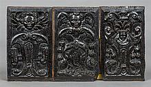Three 16th century French carved oak panels Two wo