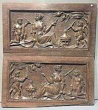 A pair of 19th century carved oak panels Each of r
