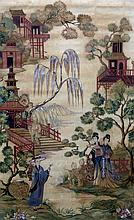 CHINESE SCHOOL (19th century) Figures by Pagodas i