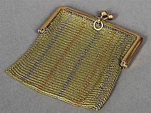 A 9 ct tri-colour gold mesh sovereign purse, impor