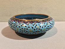 A Chinese cloisonne bowl Decorated overall with lo