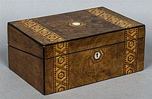 A Victorian inlaid burr walnut writing slope  The