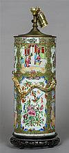 A 19th century Cantonese porcelain table lamp Of c