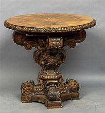 A Continental inlaid walnut centre table The circu