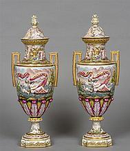 A pair of 19th century Capo di Monte porcelain twi