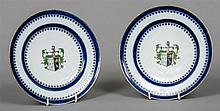 A pair of Chinese Export armorial porcelain side p