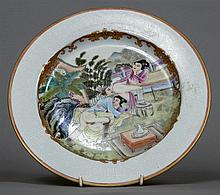 An erotically decorated Chinese porcelain plate Ce