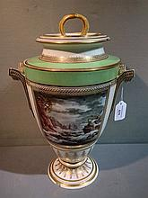 A 19th century Crown Derby twin handled urn shaped