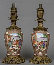 A pair of Chinese gilt bronze mounted porcelain oi