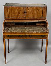 A 19th century satinwood and mahogany tambour fron