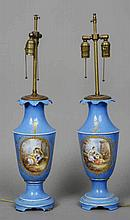 A pair of Sevres style porcelain table lamps Each