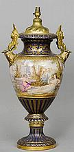 A large Vienna porcelain urn form vase With ormol