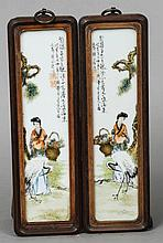 A pair of Chinese porcelain sleeve panels Each de