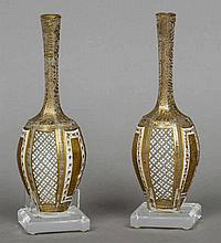 A pair of small 19th century Bohemian white cased