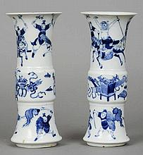 A pair of 19th century Chinese blue and white gu