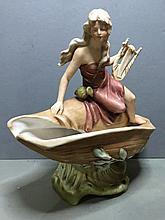 A Royal Dux porcelain centrepiece Modelled as a l