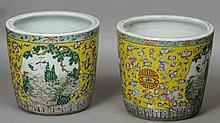 A pair of Chinese porcelain jardinieres Each with