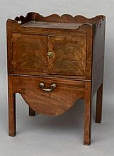 A George III mahogany tray top bedside commode Of