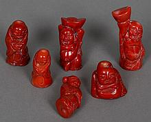 Six various carved Chinese coral figures The largest 7 cm high.  (6)