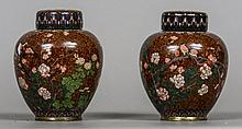 A pair of late 19th century cloisonne vases and covers Each of ovoid form,