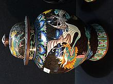 A large pair of late 19th century cloisonne vases Each decorated with bats