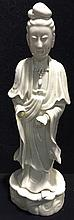 A Chinese blanc de chine porcelain figure of Guanyin Typically modelled.  3