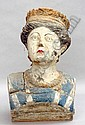 A 19th century painted wooden ships figurehead Modelled as a woman wearing a crown (decoration refreshed and with extensive losses). 33 x 30 cms.