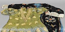 A black silk kimono  Typically embroidered with fl