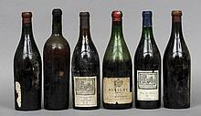 Six various bottles of red and white wine Comprisi