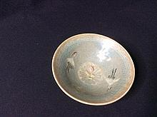 A Korean pottery bowl Of conical form, decorated t