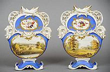 A pair of Colebrookdale porcelain mantle pockets D