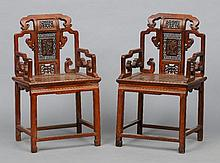 A pair of late 19th century Chinese carved hardwoo