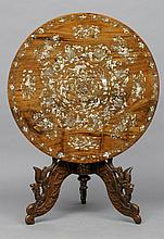 A 19th century Chinese mother-of-pearl inlaid hard